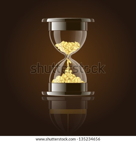 Hourglass with gold coins over dark background. Vector illustration - stock vector