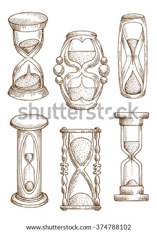 Hourglasses and sand glasses sketch icons of vintage sand clocks in wooden carved stands and modern sand timers with plastic covers. Sketched sandglasses for time, deadline theme or retro design - stock vector