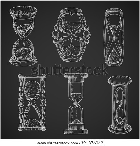 Hourglasses chalk sketches of vintage and modern sandglasses with flowing sand. May be used as time, deadline, passing of time concept design - stock vector
