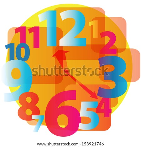 Hours the alarm clock shows time. Vector illustration - stock vector