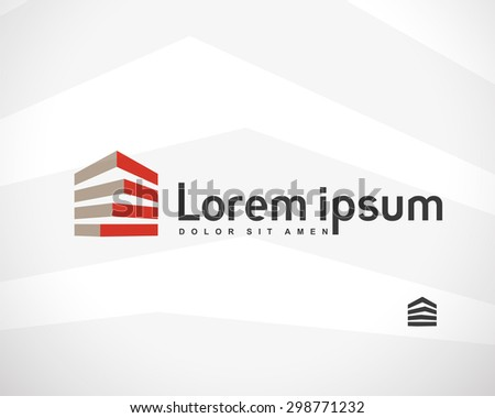 House Abstract Real Estate Countryside Logo Design Template for Company. Building Vector Silhouette. - stock vector