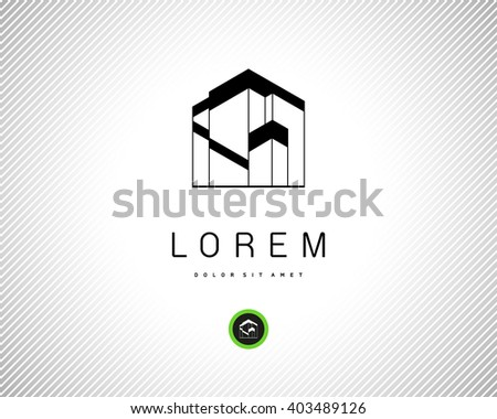 House Abstract Real Estate Residential Logo for Company. Modern Building Vector Black Silhouette on White Background. Abstract Vector Logo Design Template.  - stock vector