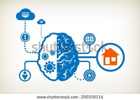 House and abstract human brain, the concept of the information movement - stock vector