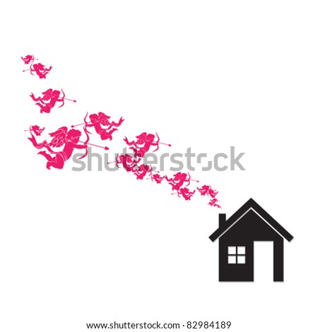 House and cupids instead of smoke rising from the chimney. Abstract vector illustration. - stock vector