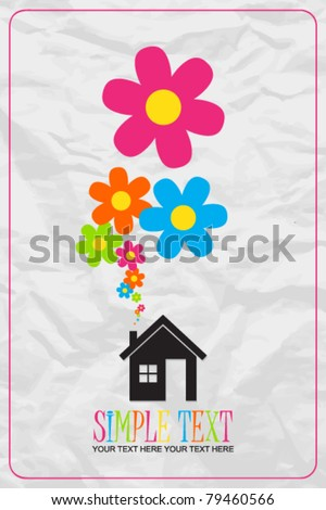 House and flowers instead of smoke rising from the chimney on a paper-background. Abstract vector illustration. - stock vector