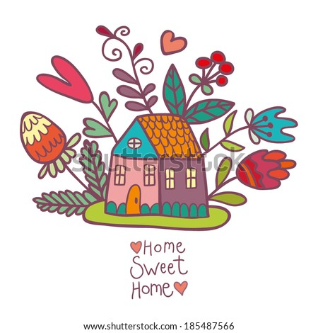 house and flowers on a white background - stock vector