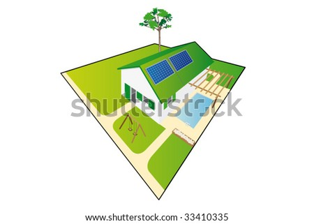 House and garden - stock vector