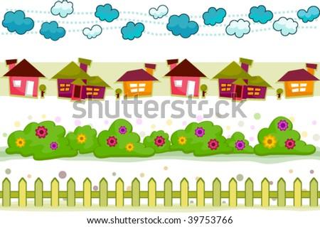 House and Garden Border Set - Vector - stock vector