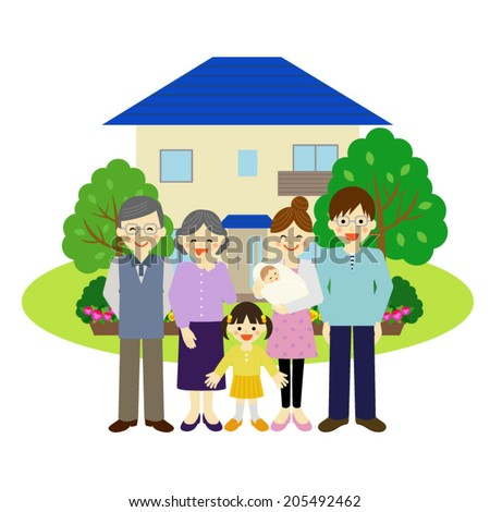 House and happy family / Vector EPS 10 illustration  - stock vector