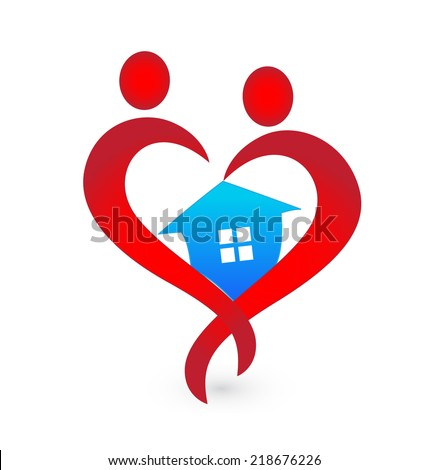 House and heart shape figures logo vector icon - stock vector