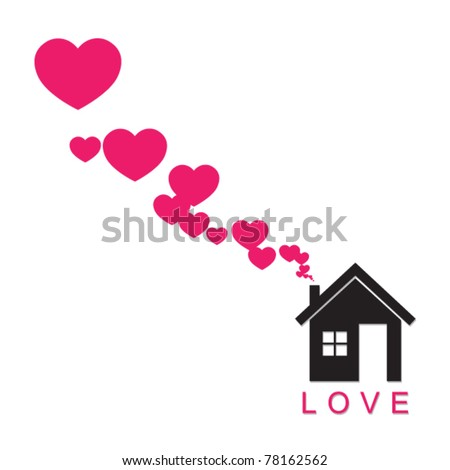 House and hearts instead of smoke rising from the chimney Abstract vector illustration. Place for your text, - stock vector