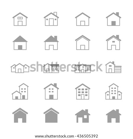 House and Home Set Of Building Icons Line - stock vector