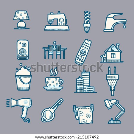 House and home vector doodle drawn icons set - stock vector