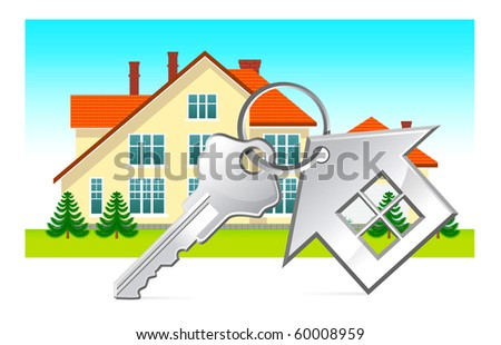 House and house keys on white background - stock vector