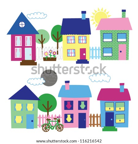 House and Neighborhood Illustrations - stock vector
