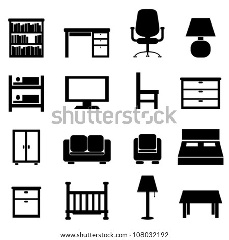 House and office furniture icon set - stock vector
