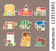 house and shop stickers - stock vector