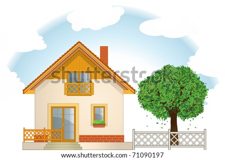 House and Tree - stock vector