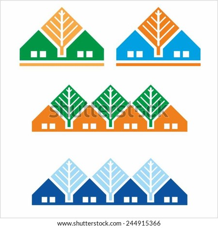 House and tree. Symbol of a small home with a windows. Vector colored image.