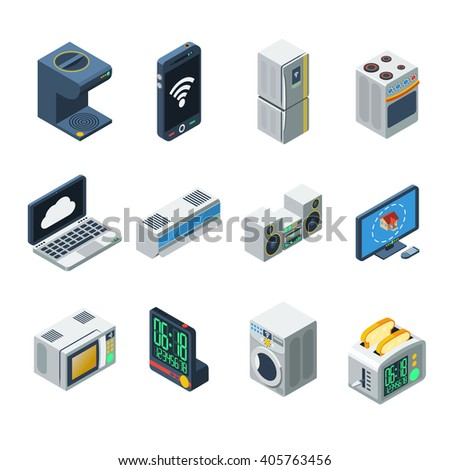 House appliances isometric isolated icon set for kitchen living room and  bathroom vector illustrationHouse Appliances Stock Images  Royalty Free Images   Vectors  . Living Room Appliances. Home Design Ideas