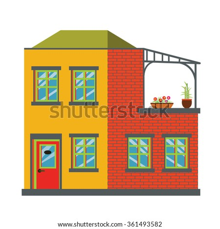 House. Big bright house. Big cute modern house. With flowers, roof, windows, door and brickwork. Urban house. Exterior design. House icon on background. Flat style illustration.
