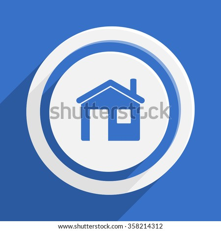 house blue flat design modern vector icon for web and mobile app - stock vector