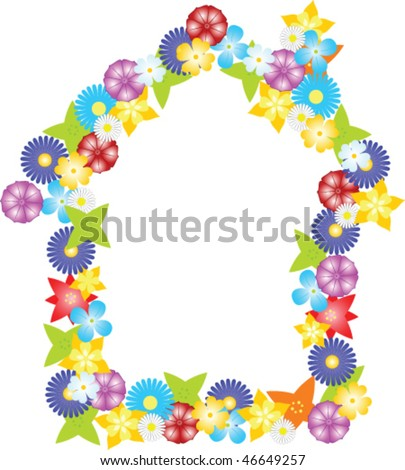 House border from colorful vector flowers - stock vector