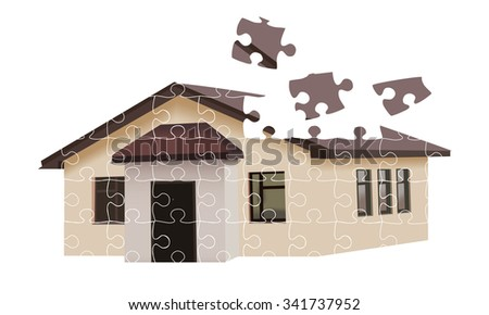 House building from falling puzzles isolated on white background. Vector illustration  - stock vector