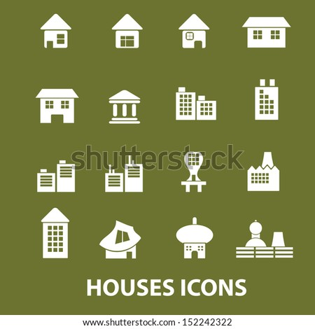 house, building, home icons, signs set, vector - stock vector