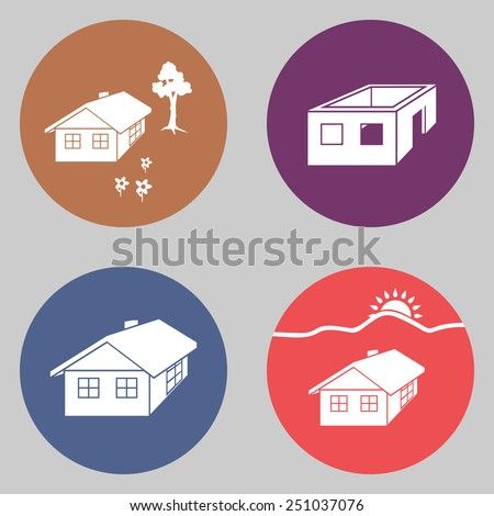 House building 4 icon set. Finished  and unfinished buildings. Ownerless complete and incomplete symbol. White silhouettes on round colorful signs. Flat design. Vector illustration. EPS10 - stock vector