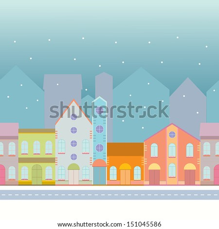 House buildings, home seamless background pattern. Street view in small city, town with road  in winter time, snowing. Colorful wrapping paper, postcard, banner design template. Vector illustration.