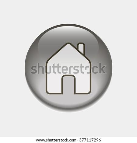 house button, icon - stock vector