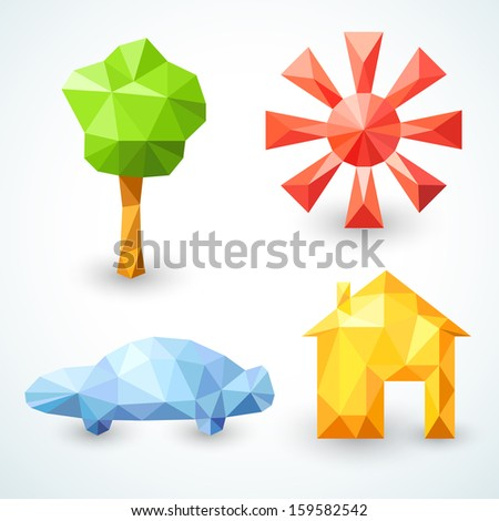 House, car, tree and sun icons set. Vector illustration for your modern funny lovely design. Banner of bright polygonal origami  symbols of family values for your business presentation. - stock vector