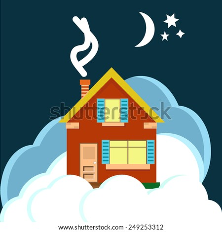 house clouds night moon  - stock vector