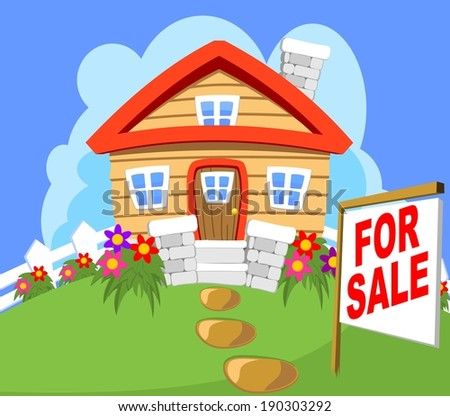 House Cottage for sale with a sign - stock vector