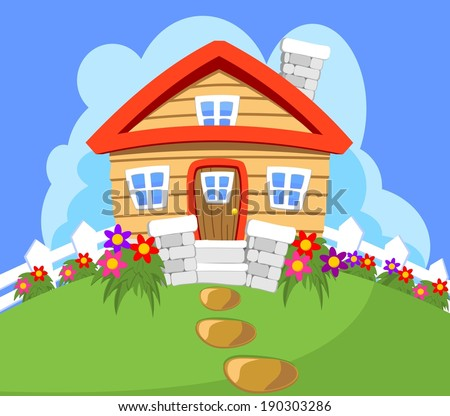 House Cottage on a hill - stock vector