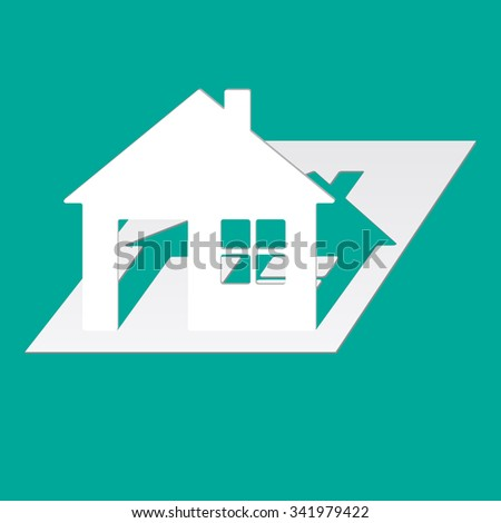 House cut paper on a green background. Vector illustration. - stock vector