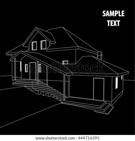 House 3 d blueprint vector construction graphic stock vector house 3d blueprint vector construction graphic idea architectural background malvernweather Image collections