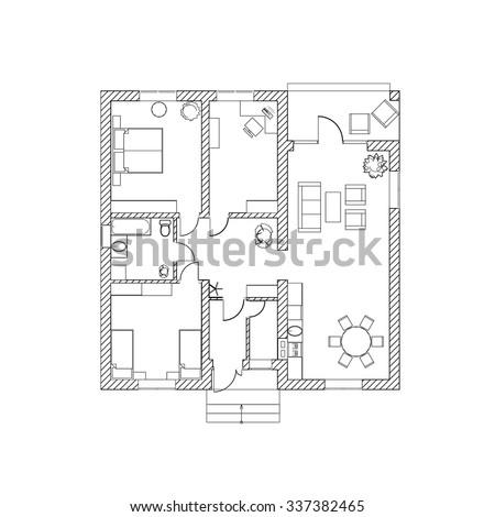 House Design Black White Floor Plan Stock Vector