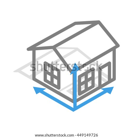 House drawing icon in isometric 3d style isolated on white background - stock vector