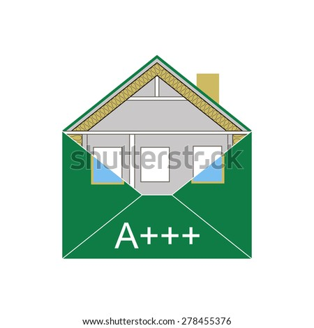 House Eco Green Building Envelope Energy Efficiency Weatherization Construction standards home insulation Thermal  Environmentally friendly and save money and energy class A +++ symbolic logo vector - stock vector