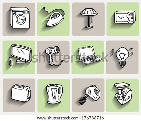 House equipment icons set, living conditions, home appliances doodle icons, hand drawn sketch vector collection, beige and green background - stock vector