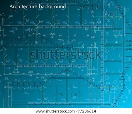 House facade on blue background. Vector blueprint - stock vector