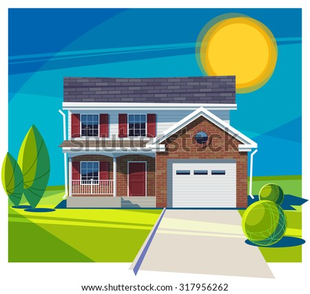 House fasade with garage. Vector illustration