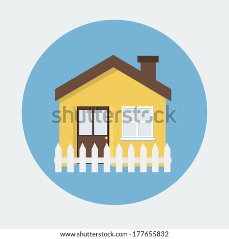 House flat icon - stock vector