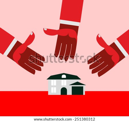 House for debt. Red hands. - stock vector