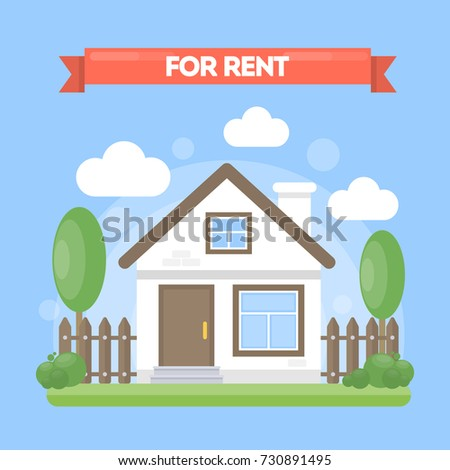 House For Rent. Simple Cute Cartoon House With Trees And Clouds.
