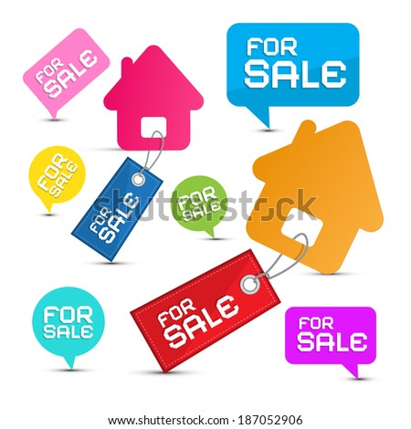 House For Sale Colorful Paper Icons Set - stock vector