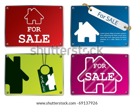 House for sale tablets - stock vector