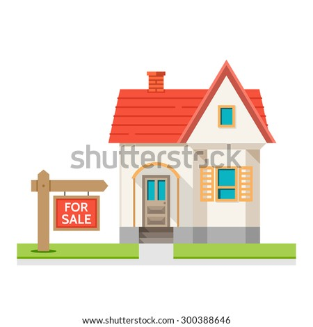 House for sale. The house and sign in the foreground with the information. Vector illustration in flat style
